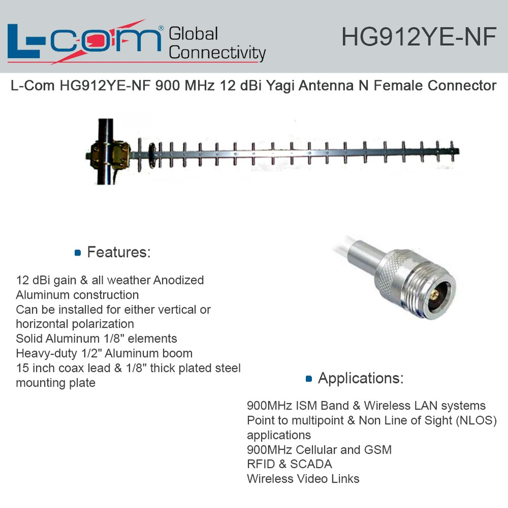 L Com HG912YE NF 900 MHz 12 DBi Yagi Antenna N Female Connector Economical High Performance Antennas That Combines Accurate Gain With A Wide