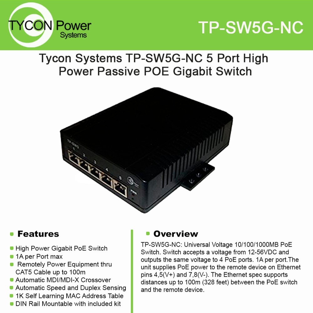 Tycon Power Gbit Passive Poe Switch Tp Sw5g Nc With 5 Port 12 56vdc Ethernet Cable Wiring Com Over Four Cat5