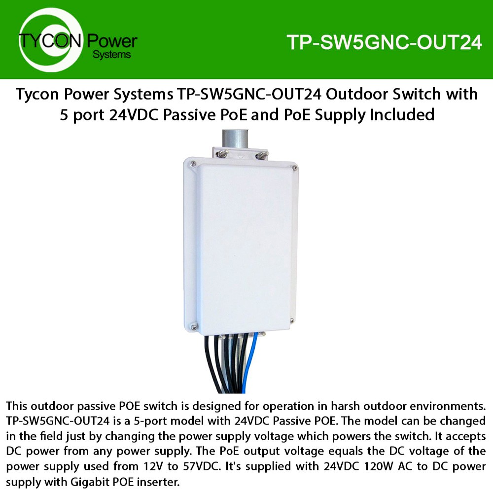 Tycon Power Tp Sw5gnc Out24 5 Port 24vdc Passive Poe Gigabit Outdoor How To Wire The System By Using A High Switch Designed