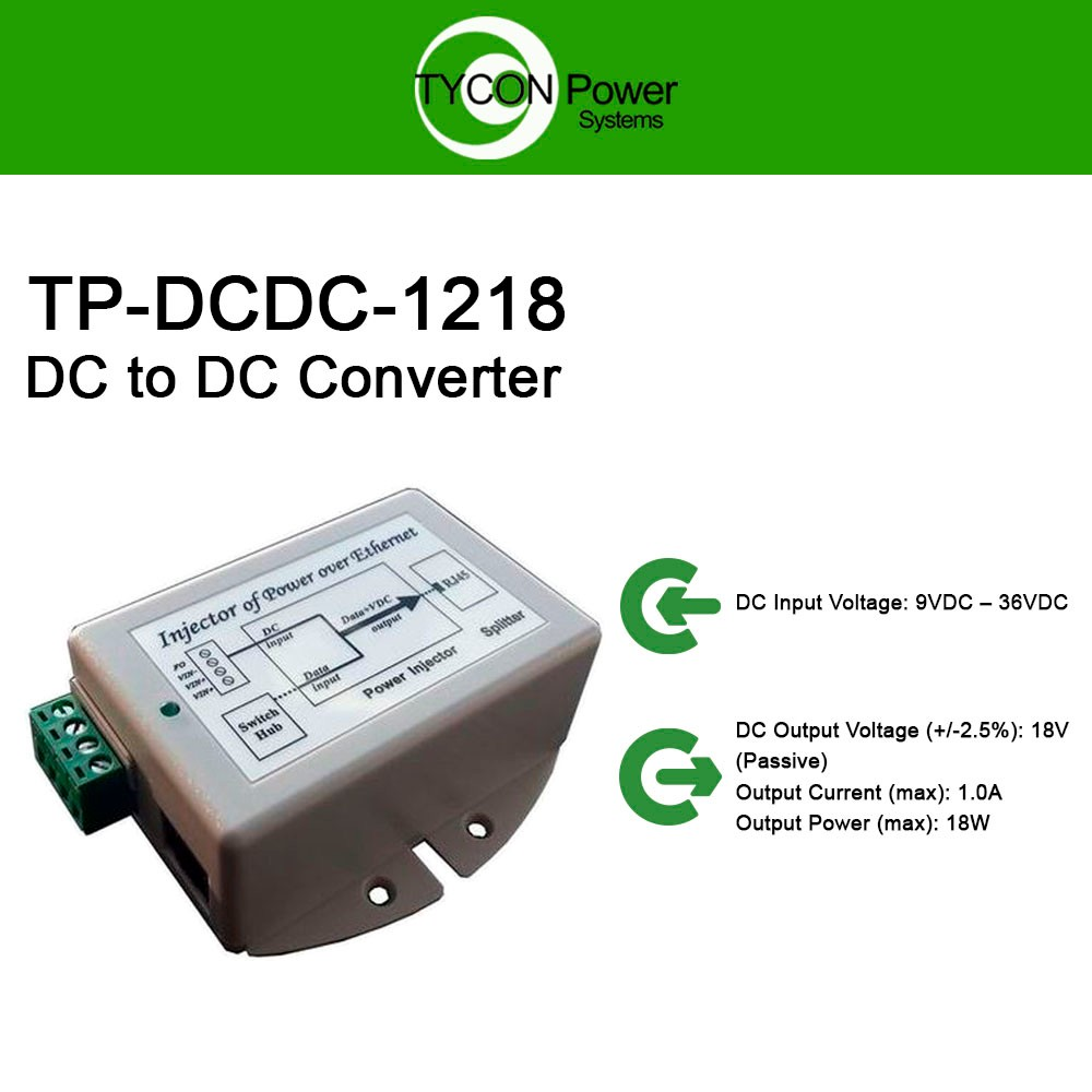 Tycon Power Tp Dcdc 1218 9 36vdc In 18vdc Out 18w Dc To Over Ethernet Poe Adapter Schematic Converter Injector