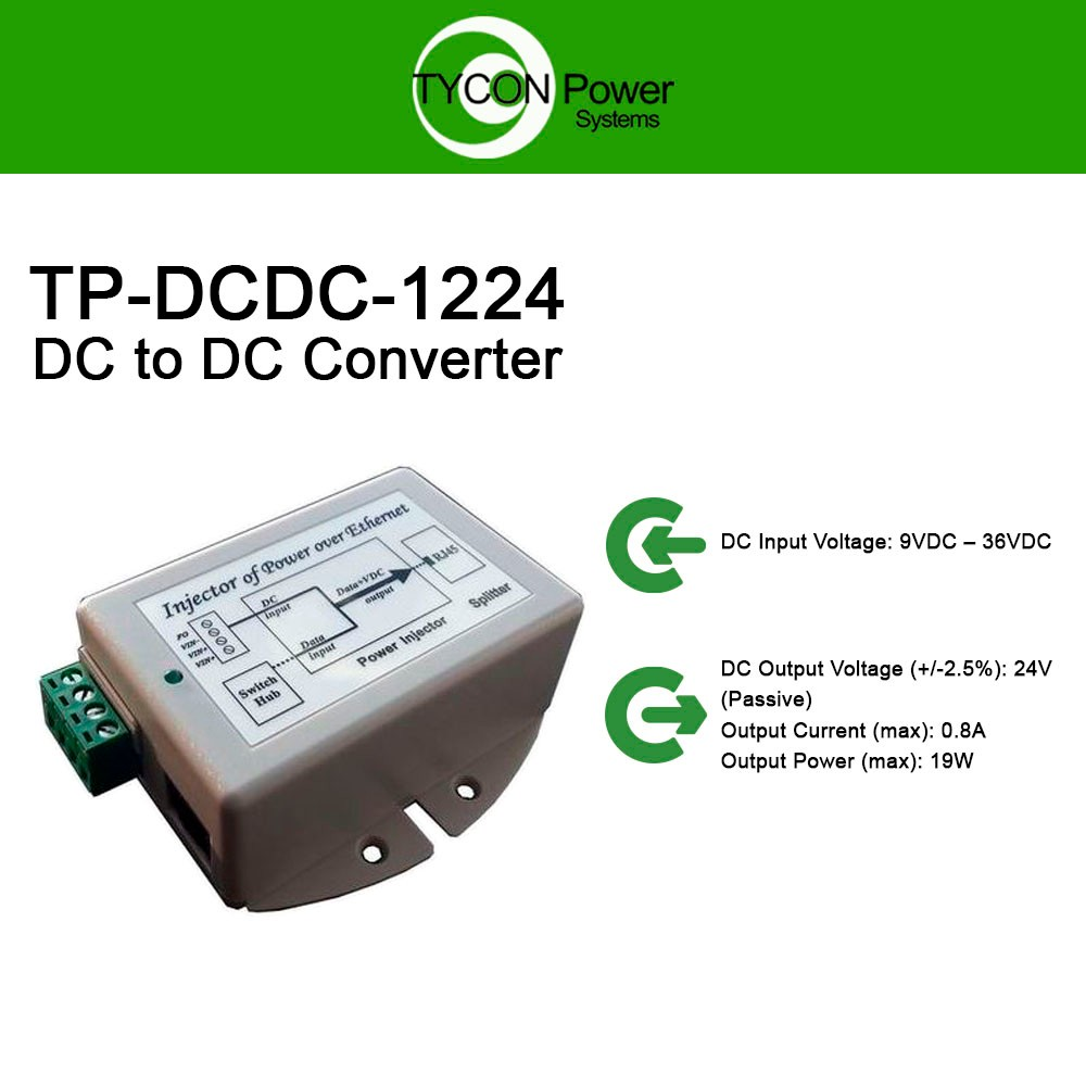 Tycon Power TP-DCDC-1224 - 9-36VDC In, 24VDC Out 19W DC to DC Converter /  POE Injector