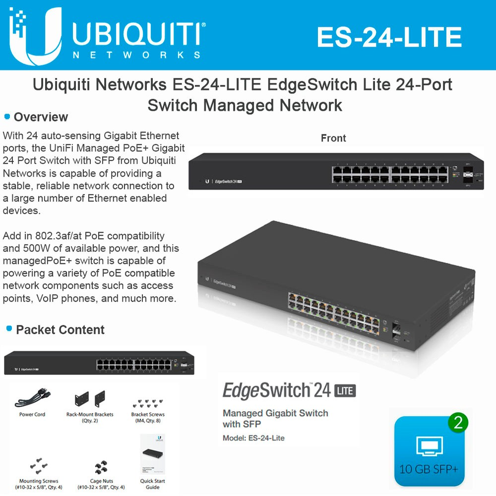 Ubiquiti Networks EdgeSwitch Lite ES-24-LITE 24-port Managed ...