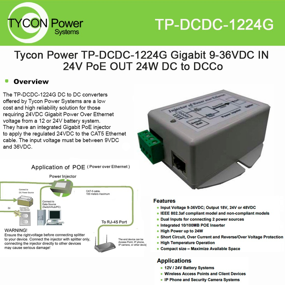 Tycon Power Dc To Converter Tp Dcdc 1224g W Gige Poe Inserter 9 High Low Voltage Protection Circuit 36vdc In 24vdc And 19w