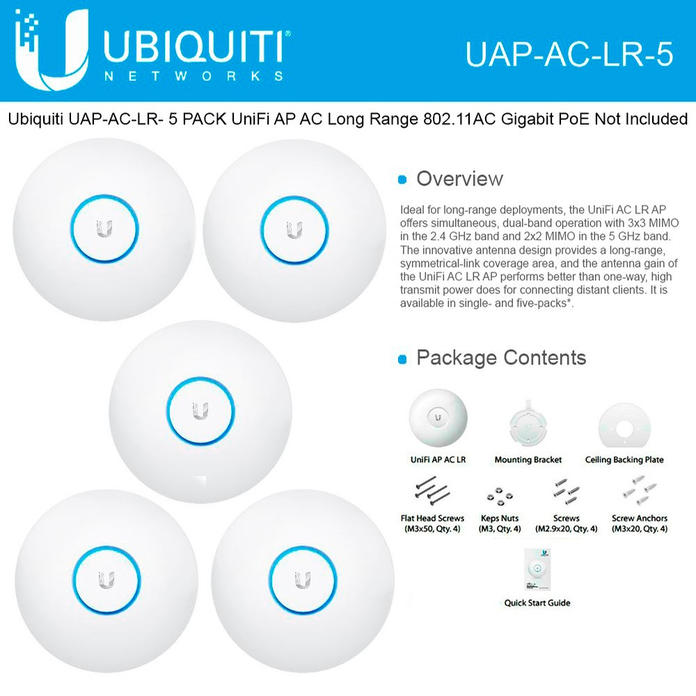 Ubiquiti Uap Ac Lr 5 Unifi Acess Point Long Range 80211ac Ap Gigabit Dual Band