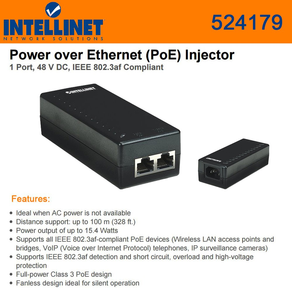Intellinet Network 524179 Power Over Ethernet Poe Injector1 Port Is A Technology That Allows Devices Such 48 V Dc Ieee 8023af Compliant