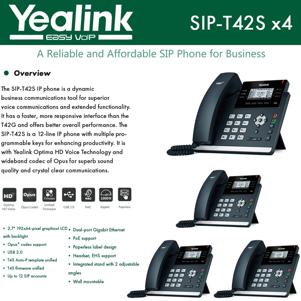 Yealink IPPhone SIP-T42S 4-UNITS Dual-port Gigabit Ethernet PoE support