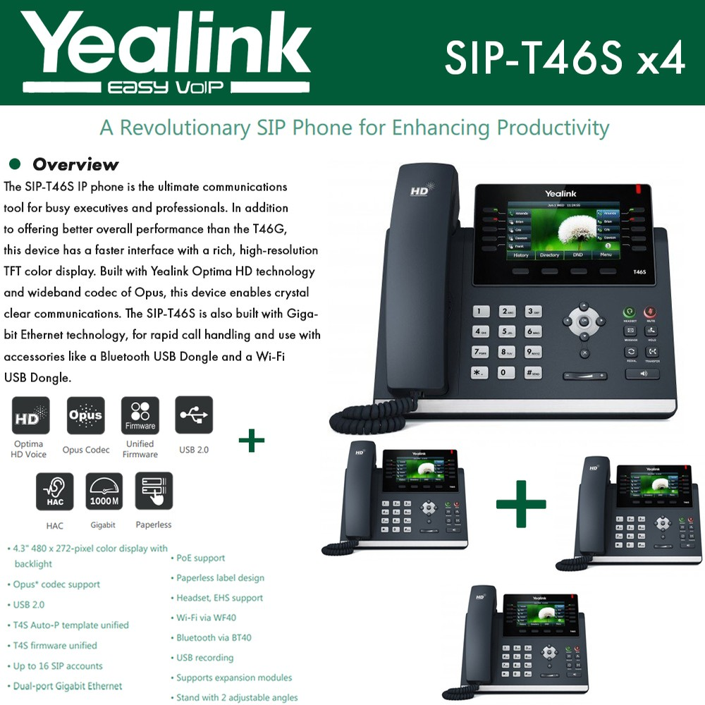Yealink IP Phone SIP-T46S 4-UNITS Optima HD USB Dongle PoE 16 VoIP
