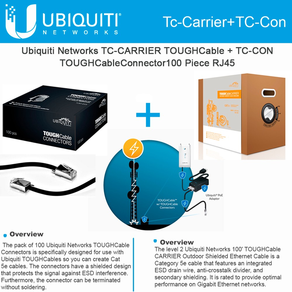 Ubiquiti Tc Carrier Toughcable Con Rj45 Male Connectors 100piece Ether Cable On Cat 5e Wiring Diagram Shielded