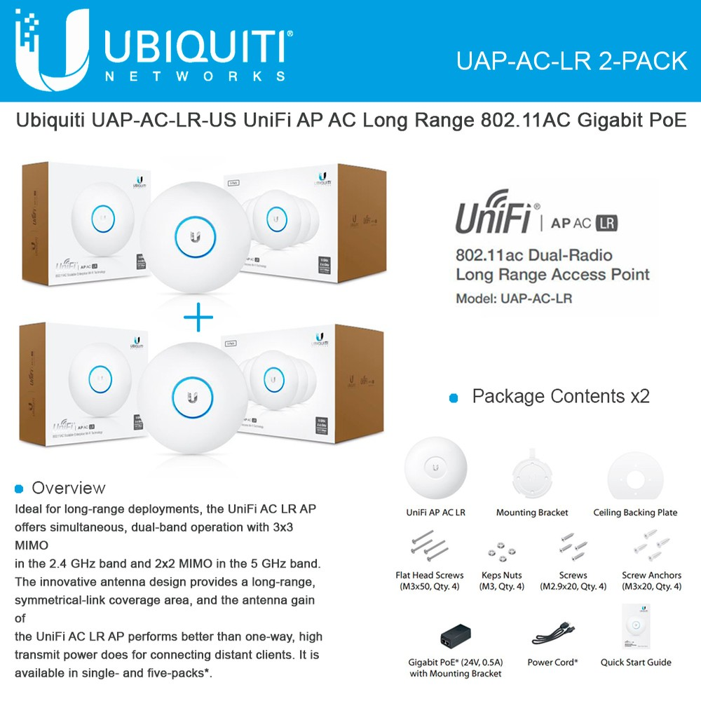 4-Pack Wireless Access Point Ubiquiti UAP-AC-LR-US Unifi AP-AC Long Range Bundle