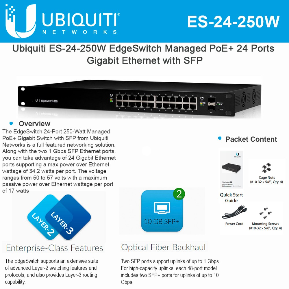 Ubiquiti Networks EdgeSwitch ES-24-250W 24-Port Managed PoE+ ...