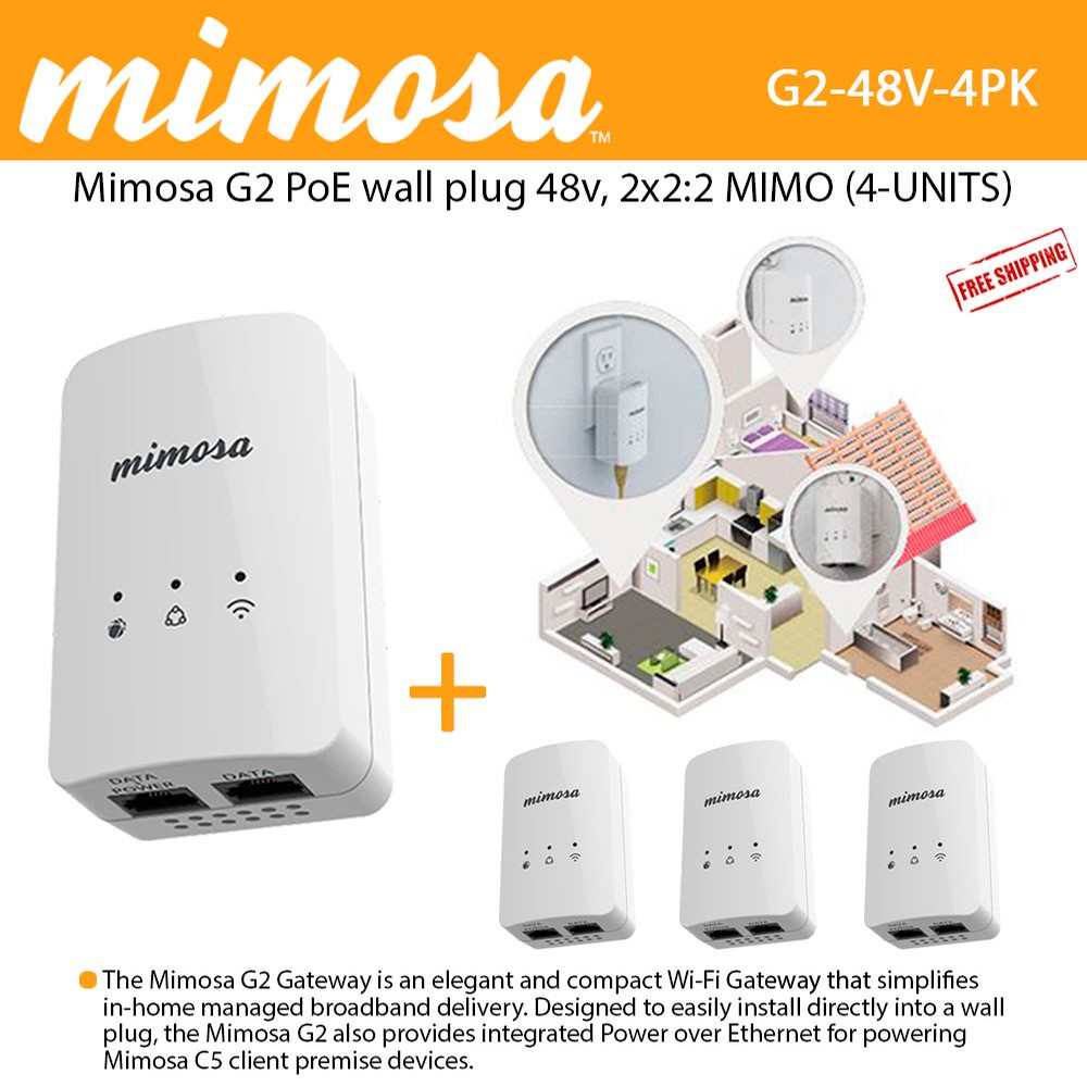 Mimosa G2 Poe 48v Wall Plug 80211n 2x22 Mimo 16 Dbm 300 Mbps Phy Ethernet Jack Wiring 4 Units 100 00034