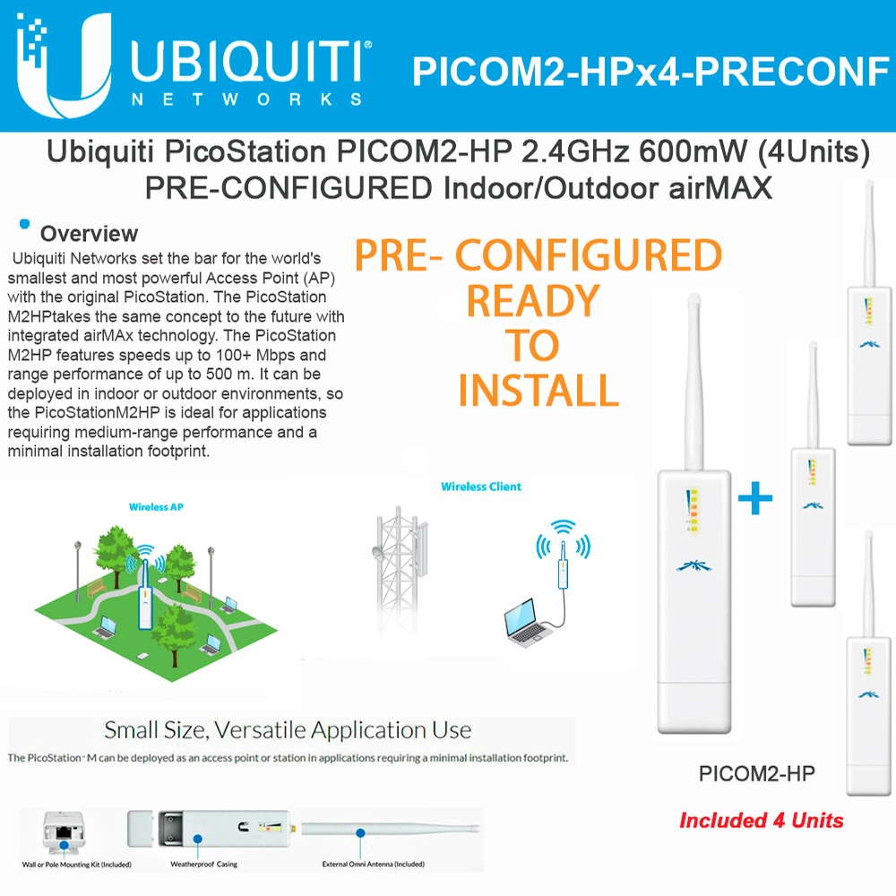 Ubiquiti Picostation Picom2 Hp 4units Pre Configured Airmax 24ghz Nanostation M2 Wiring Diagram 600mw