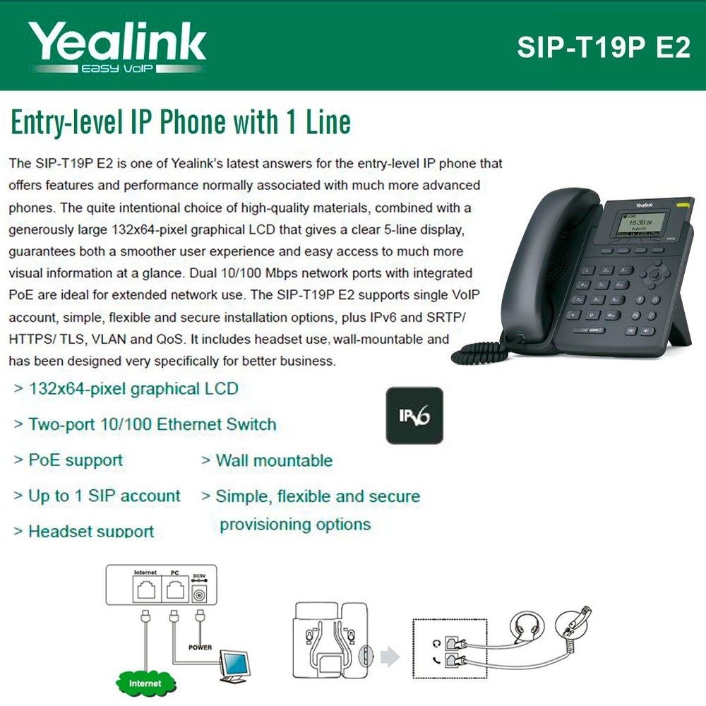 Yealink T19P E2 VoIP Phone with 1 Line, PoE support, Dual