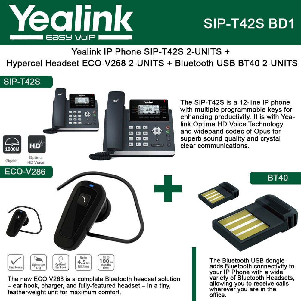 Yealink IP Phone SIP-T42S 2PACK + Bluetooth USB Dongle 2PACK