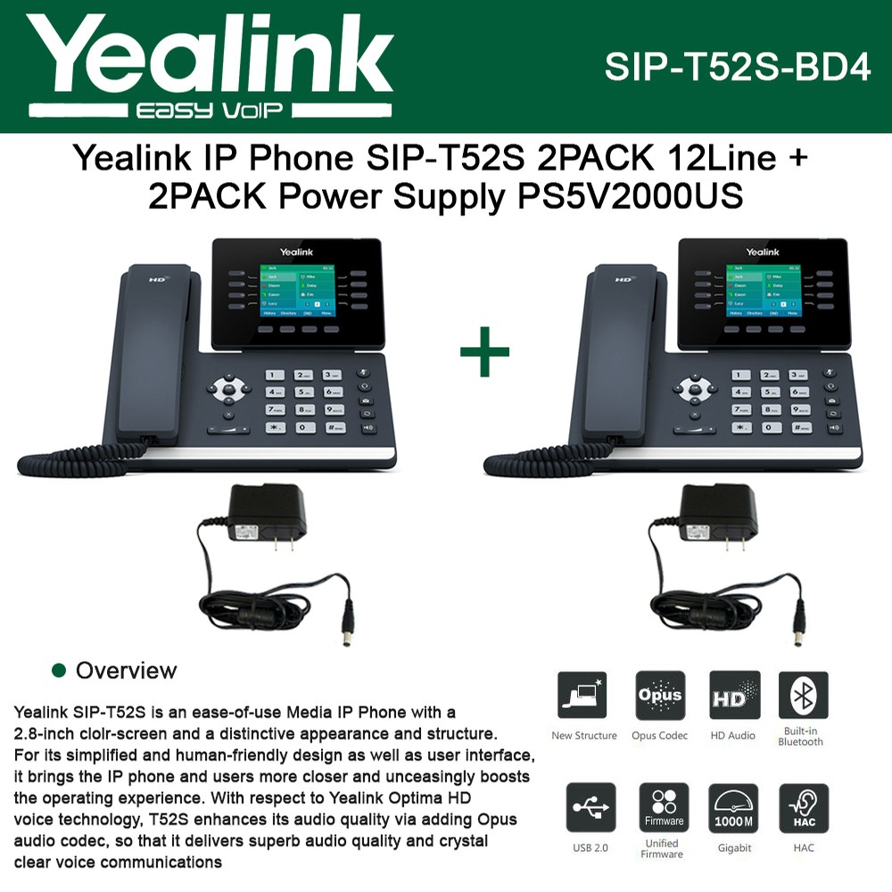 Yealink IP Phone SIP-T52S 2-UNITS 12-Lines HD Voice + 2-UNITS Power