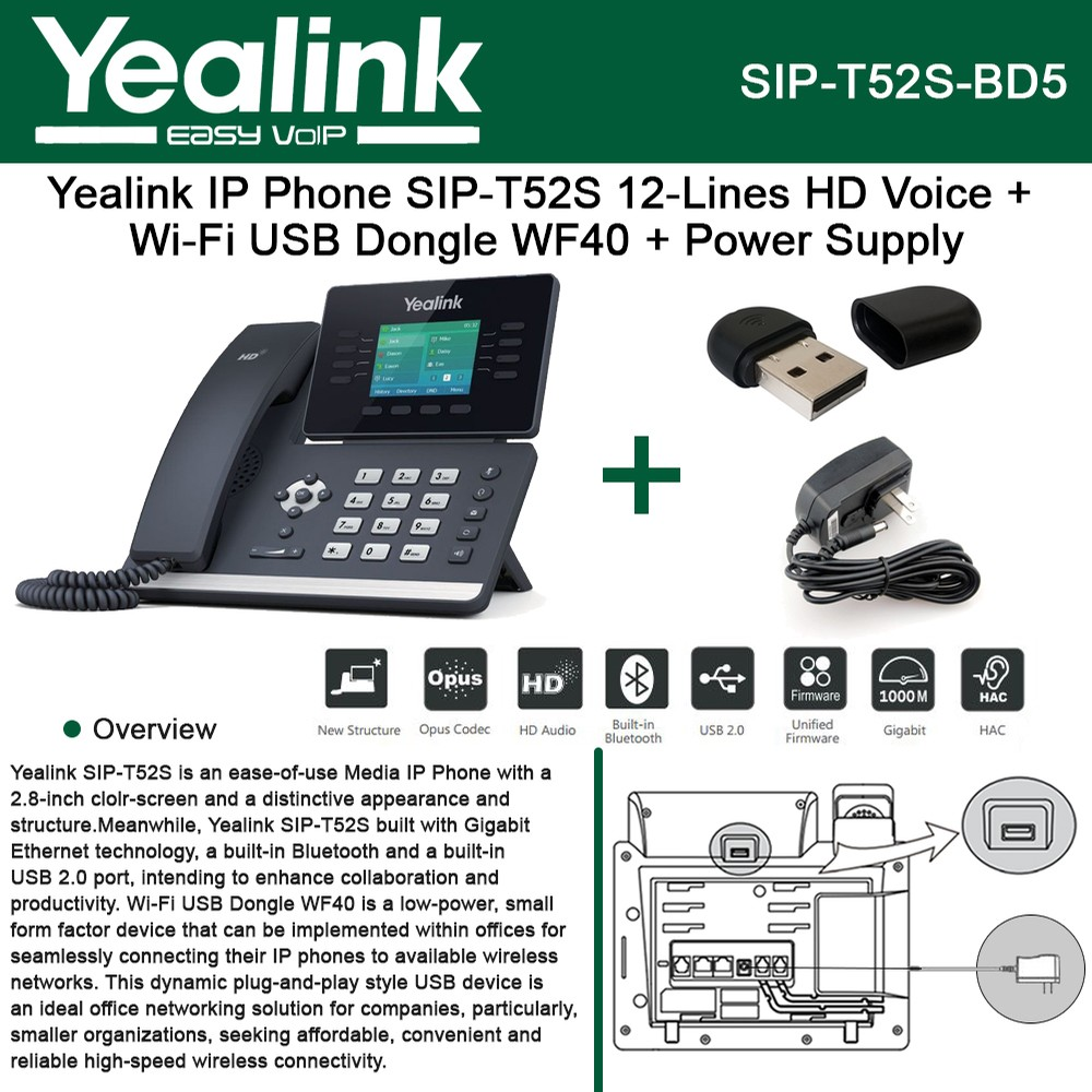 Yealink IP Phone SIP-T52S 12-Lines HD Voice + Wi-Fi USB Dongle