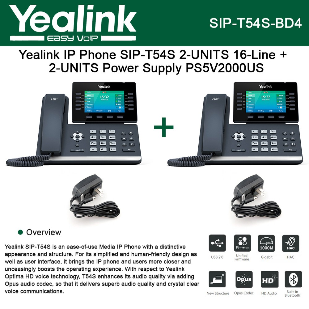 Yealink IP Phone SIP-T54S 2-UNITS 16-Lines HD Voice + Power