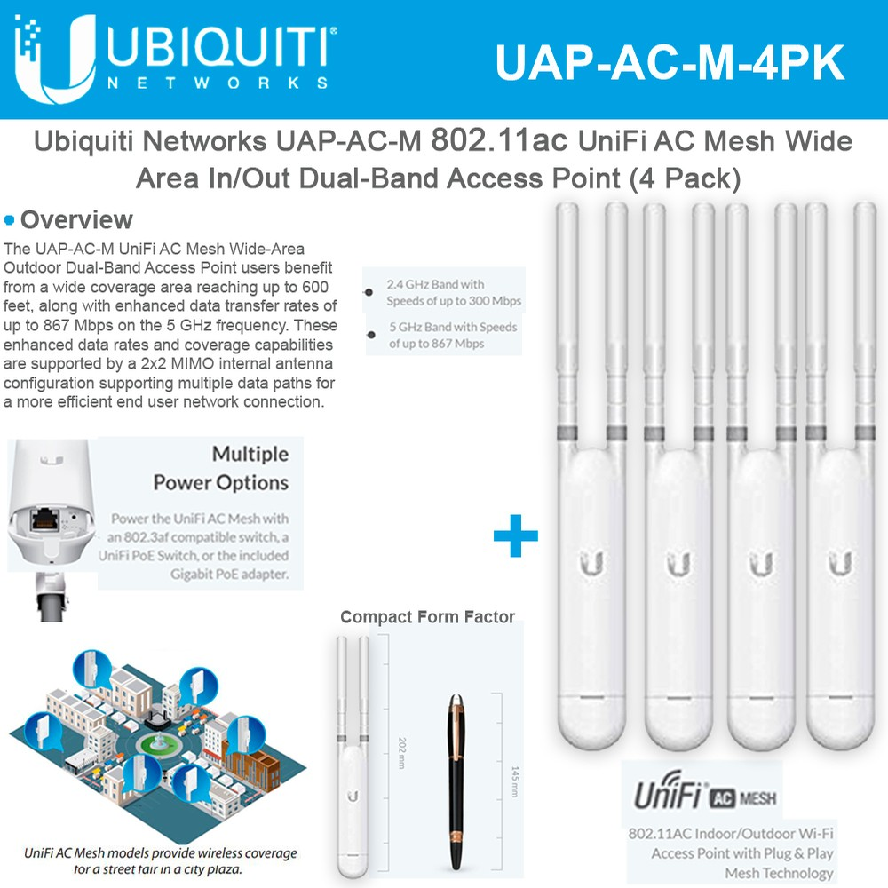 4 Pack Ubiquiti Networks UniFi AP AC Mesh UAP-AC-M-US Dual-Band Access Point