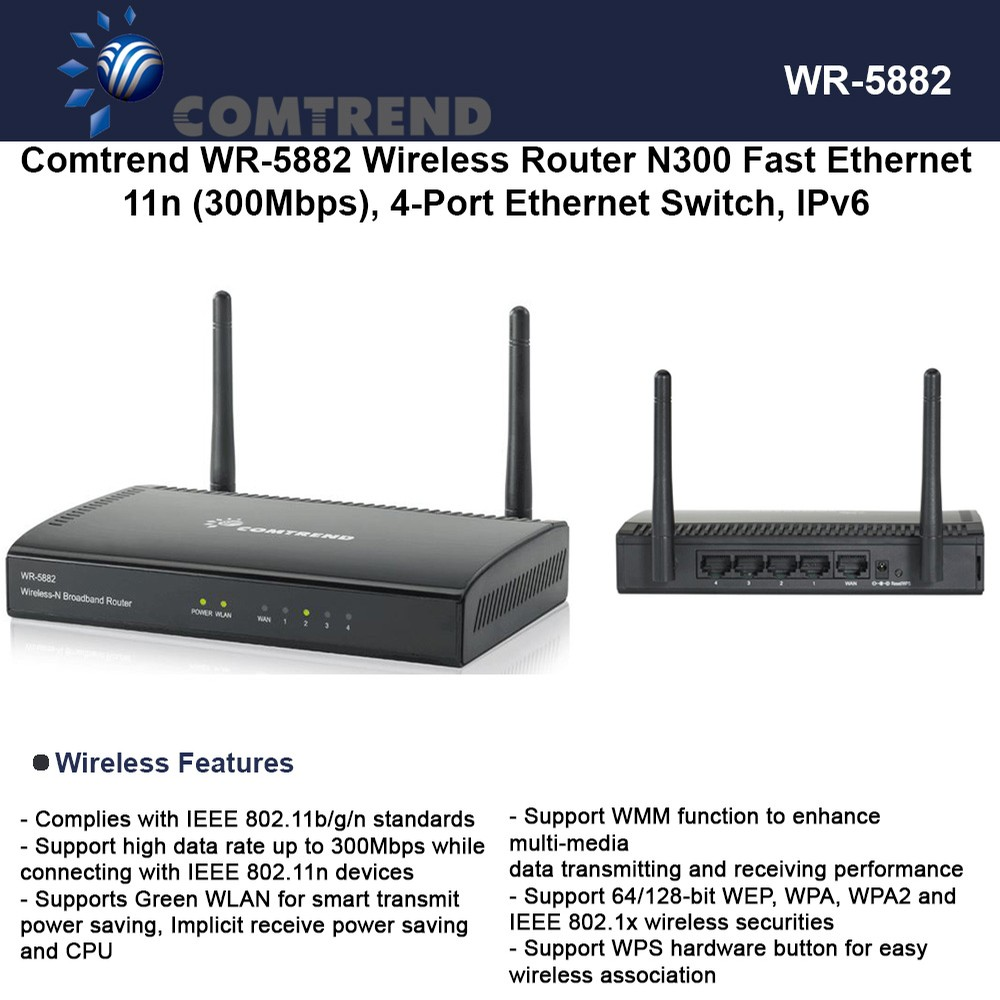 Comtrend WR-5882 Wless Router N300 Fast Ethernet 300Mbps 4-Port ...