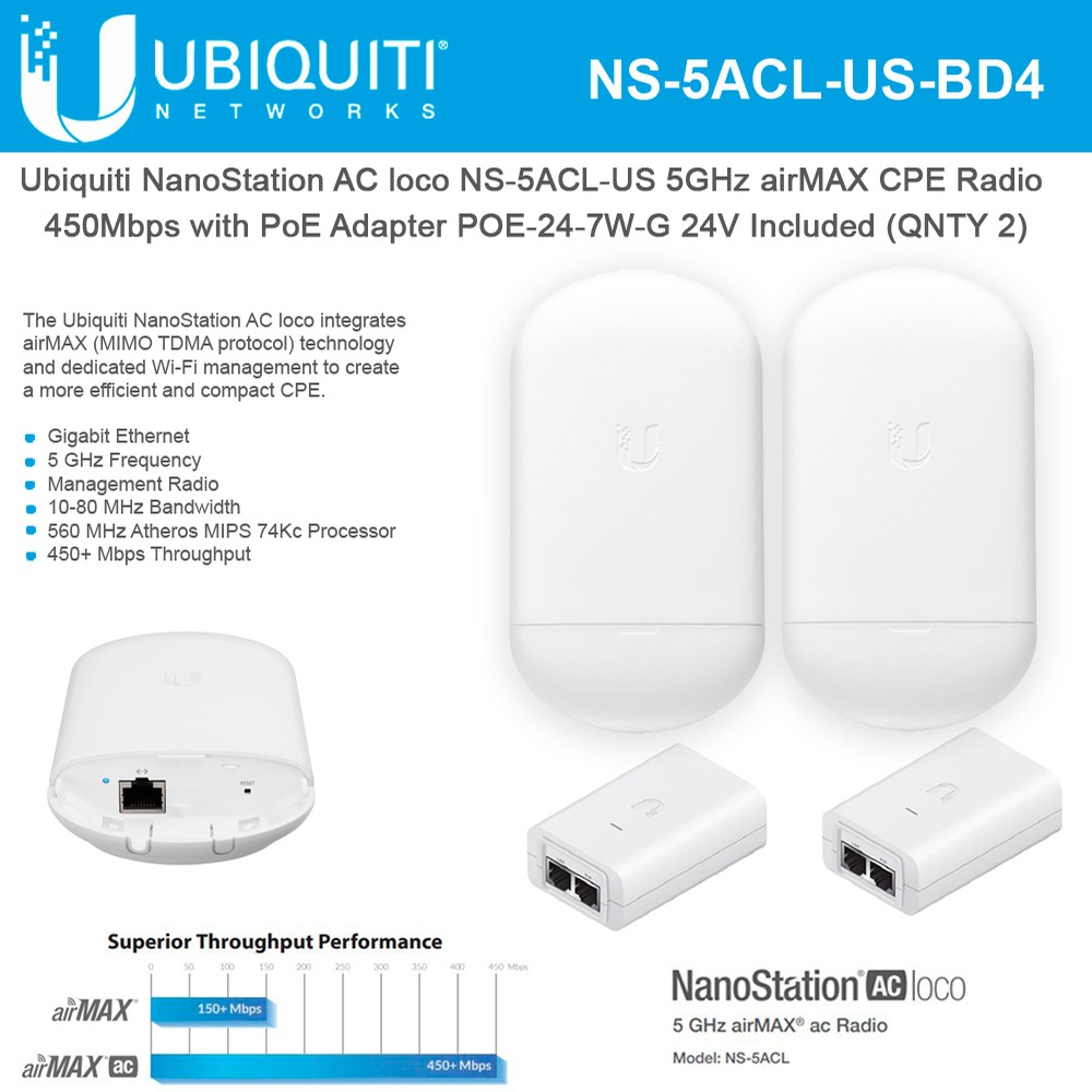 Ubiquiti NanoStation AC Loco5ac  NS-5ACL-US 5GHz airMAX CPE 450Mbps with PoE 24V