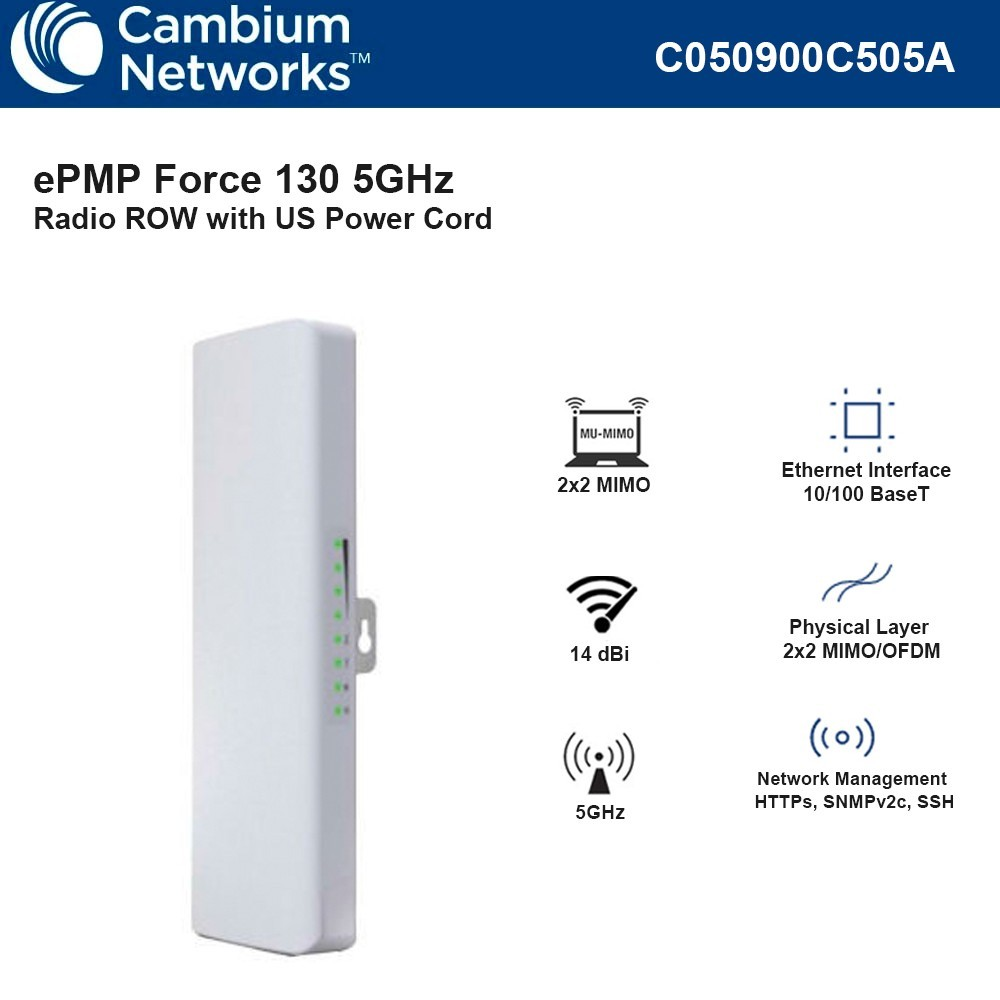 Cambium ePMP Force 130 5GHz Integrated Radio 14 dBi Subscriber Module Row US Power Cord