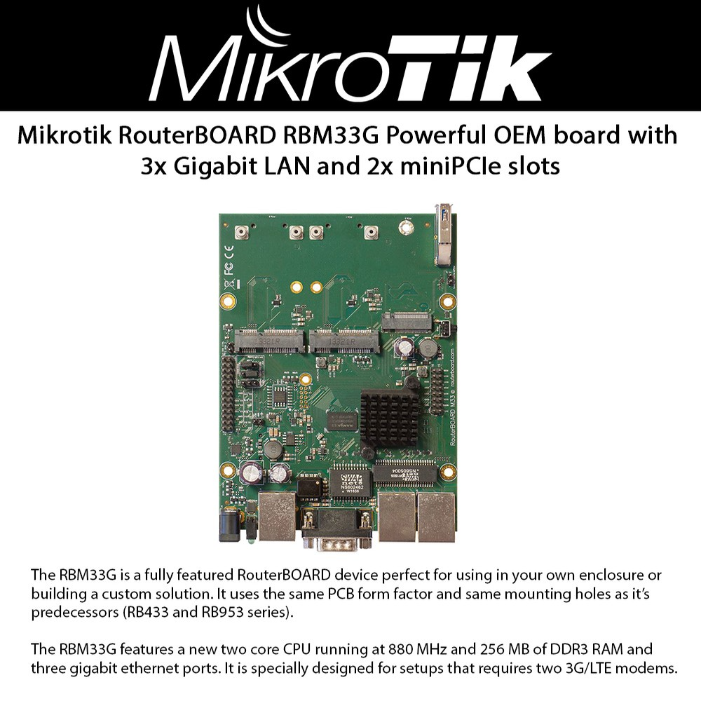 Mikrotik Routerboard Rbm33g Powerful Oem Board 3x Gigabit Lan And 2x Electronics Circuit Pcb Make Your Own Buy Minipcie Slots