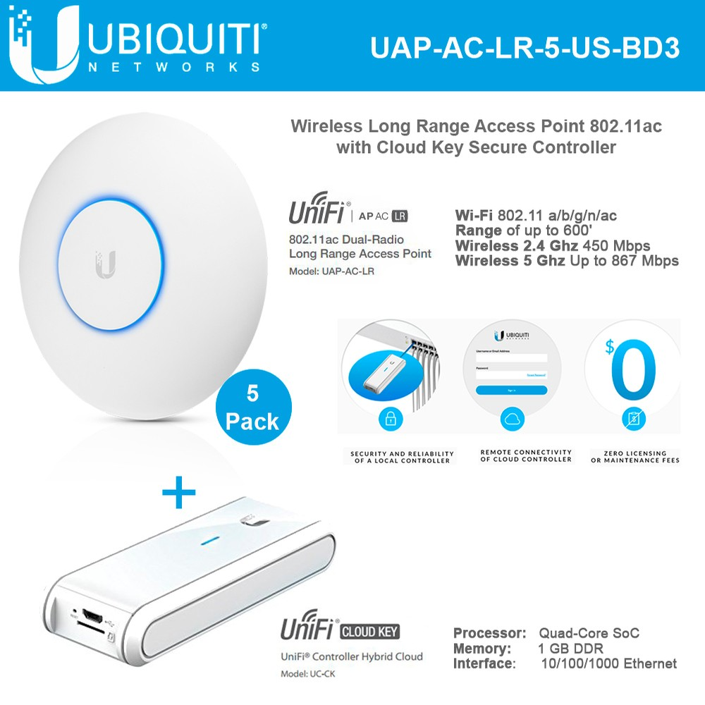 Ubiquiti UniFi AP AC LR UAP-AC-LR-5-US Wireless AP Long