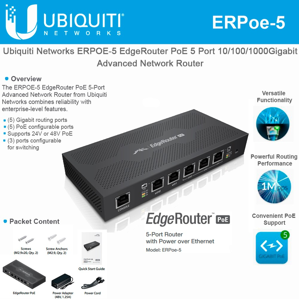 Ubiquiti Networks EdgeRouter PoE ERPOE-5 5-Port Router with