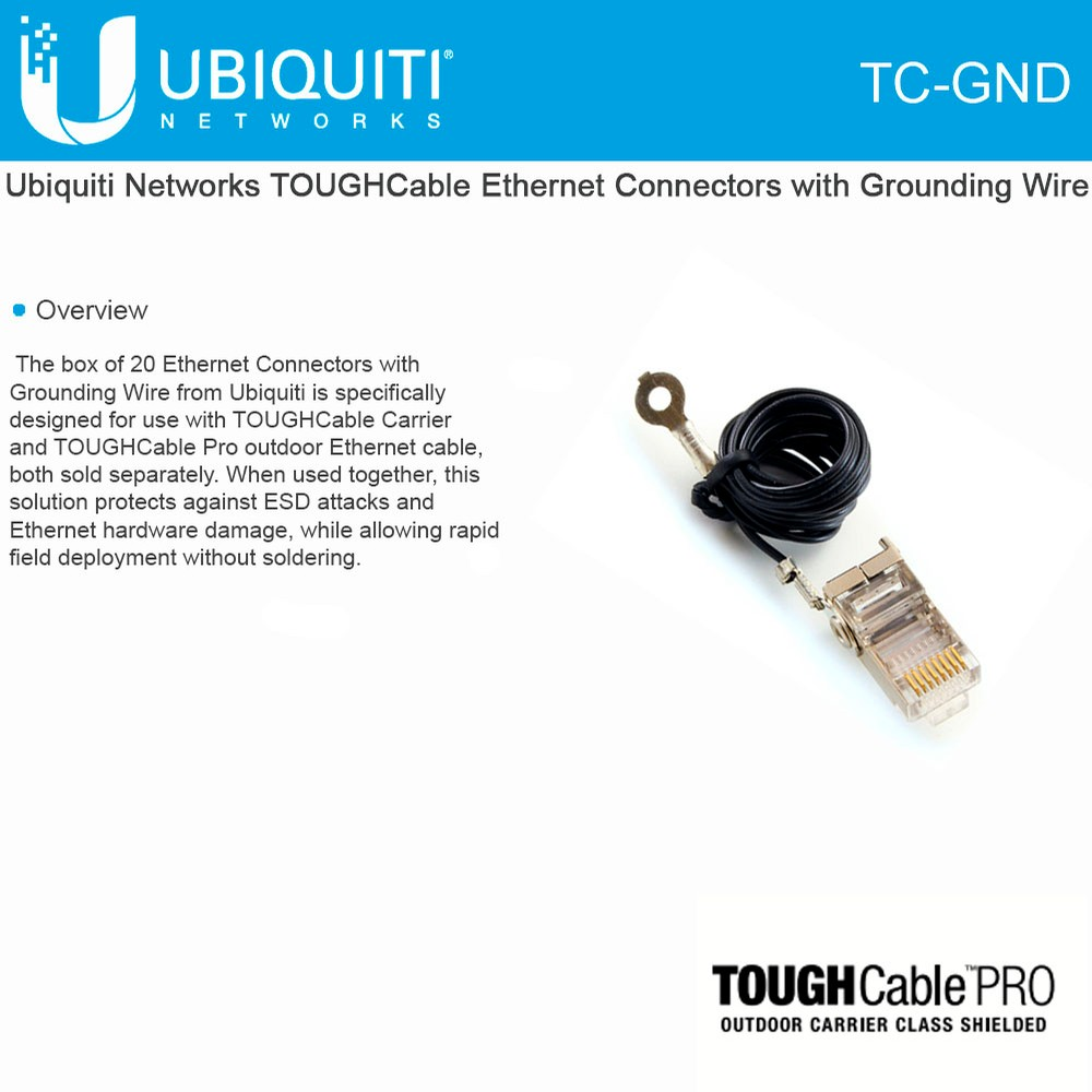 Ubiquiti Tc Gnd 1 Box Of 20 Tough Cable Connectors Esd Lightning Wiring Ethernet Socket Protection Cat5 Rj45 Plug