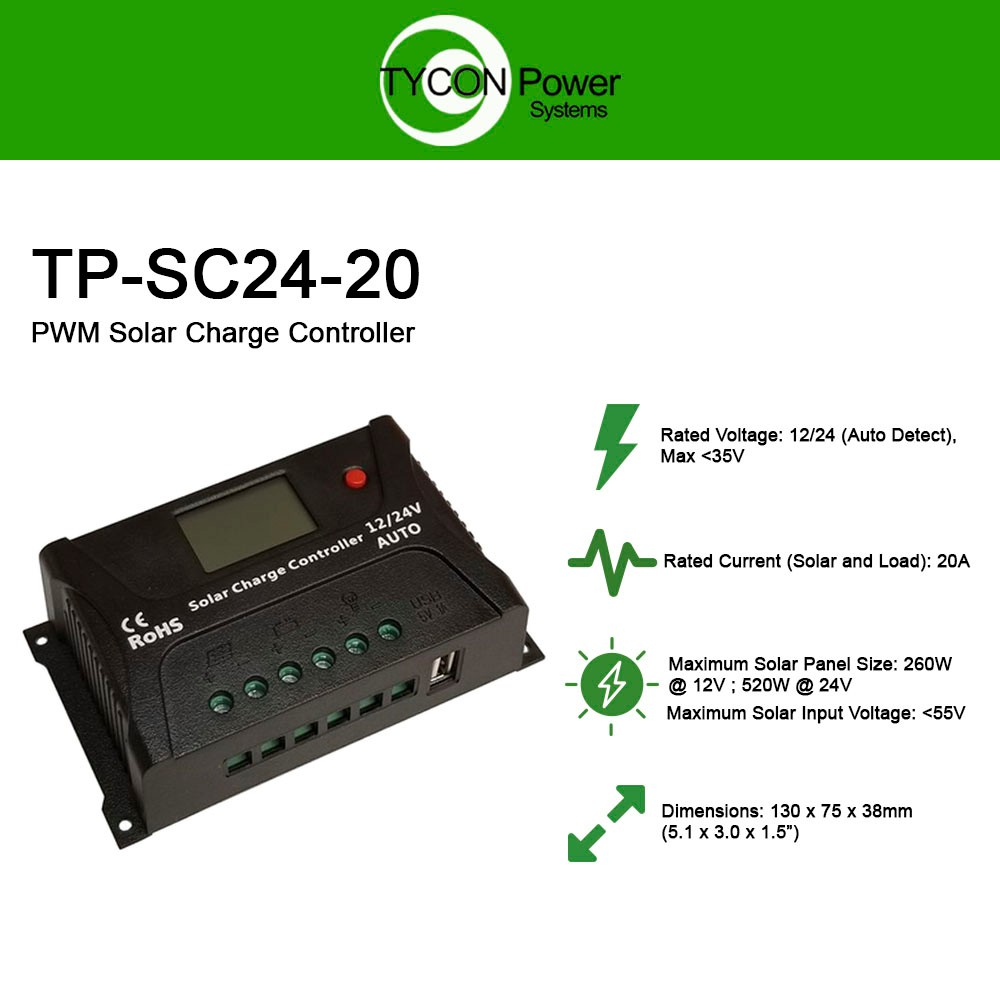 Tycon Power Tp Sc24 20 12 24v 20a Pwm Battery Charging Controller Solar Charge Circuit