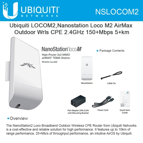 ubiquiti nanostation loco m2 indoor/outdoor airmax cpe 2 4ghz cpe point to  multi point ptmp 150mbps