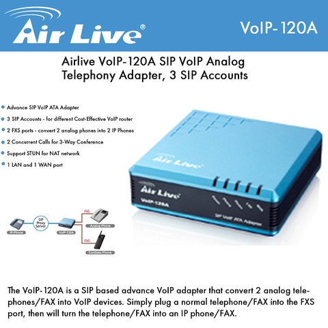Airlive VoIP-120A SIP VoIP ATA Adapter