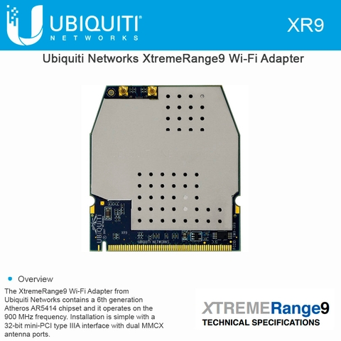 Ubiquiti Networks XR9 Xtreme Range9 Mini PCI Embedded 900MHz 700mW Carrier Class Radio Module