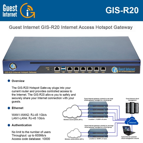 Guest Internet GIS-R20 Internet access gateway up to 500