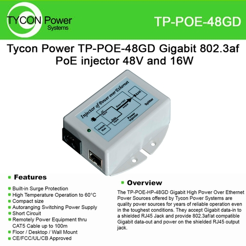 Tycon Power TP-POE-48GD Gigabit 802.3af PoE injector 48V and 16W on coax power injector, wireless access point power injector, power injector for cisco network rack, power ethernet cable, ethernet poe injector, power on ethernet, power injector syringes,