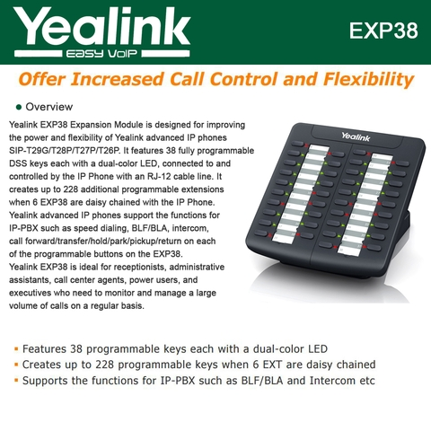 Yealink EXP38 Expansion Module, Compatible Yealink T26P and T28P