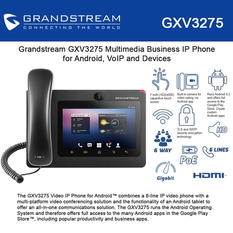 Grandstream GXV3275 Multimedia Business IP Phone for Android