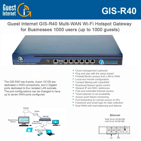 Guest Internet Hotspot Gateway GIS-R40 Multi-WAN Wi-Fi for