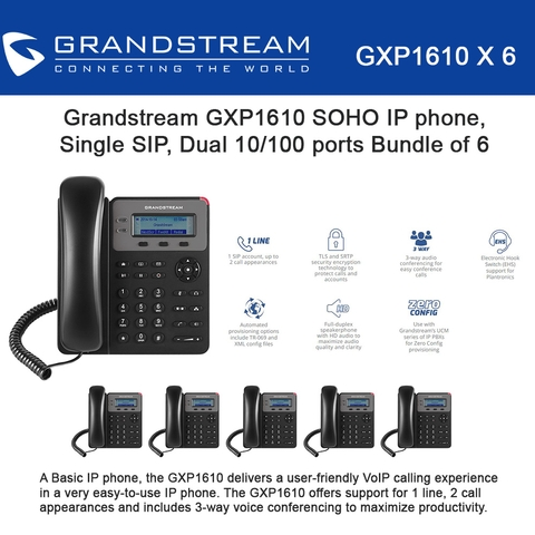 Grandstream GXP1610 6PACK SOHO IP phone 1 SIP Acct  3-way conferencing