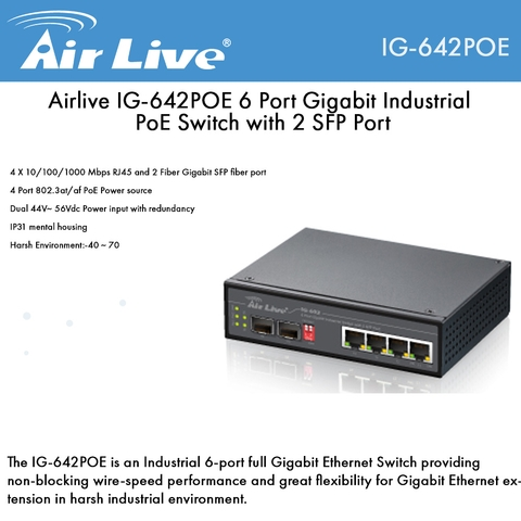 Airlive IG-642POE 6 Port Gigabit Industrial PoE Switch with 2