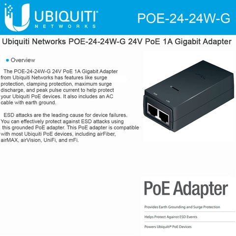 Network Adapters Ubiquiti POE-24 Power Over Ethernet 24vdc