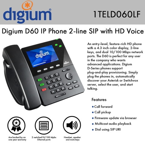 Digium Phone D60 PoE 2-line SIP with HD Voice 4 3 Inch Color