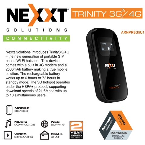 Nexxt Trinity-3G/4G Mobile Hotspot Compact and Portable Wireless
