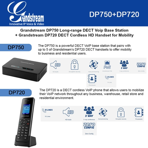 Grandstream DP750 Long-range DECT Base Station + DP720 DECT Cordless