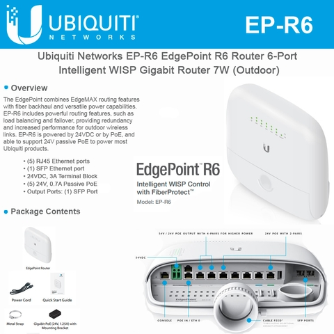 Ubiquiti Networks EdgePoint R6 EP-R6 Router 6-Port