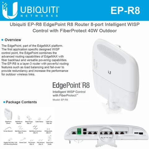 Ubiquiti Networks EdgePoint R8 EP-R8 Router 8-Port