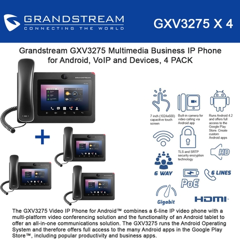 Grandstream GXV3275 Bundle of 4 6-Line Multimedia IP Phone 7