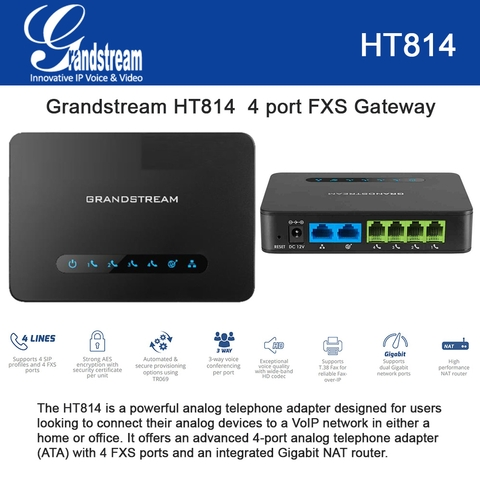 Grandstream HT814 4 port FXS Gateway with Gigabit NAT Router