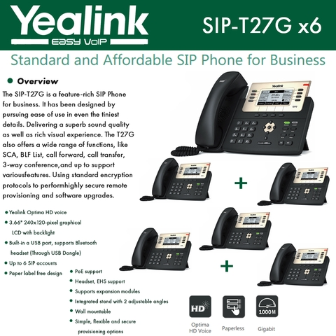 Yealink SIP-T27G 6 Pack IP Phone Gigabit Ethernet PoE Support
