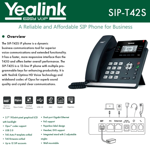 Yealink IPPhone SIP-T42S Dual-port Gigabit Ethernet PoE support